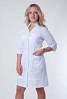 Халат медицинский женский белый с карманами на молнии