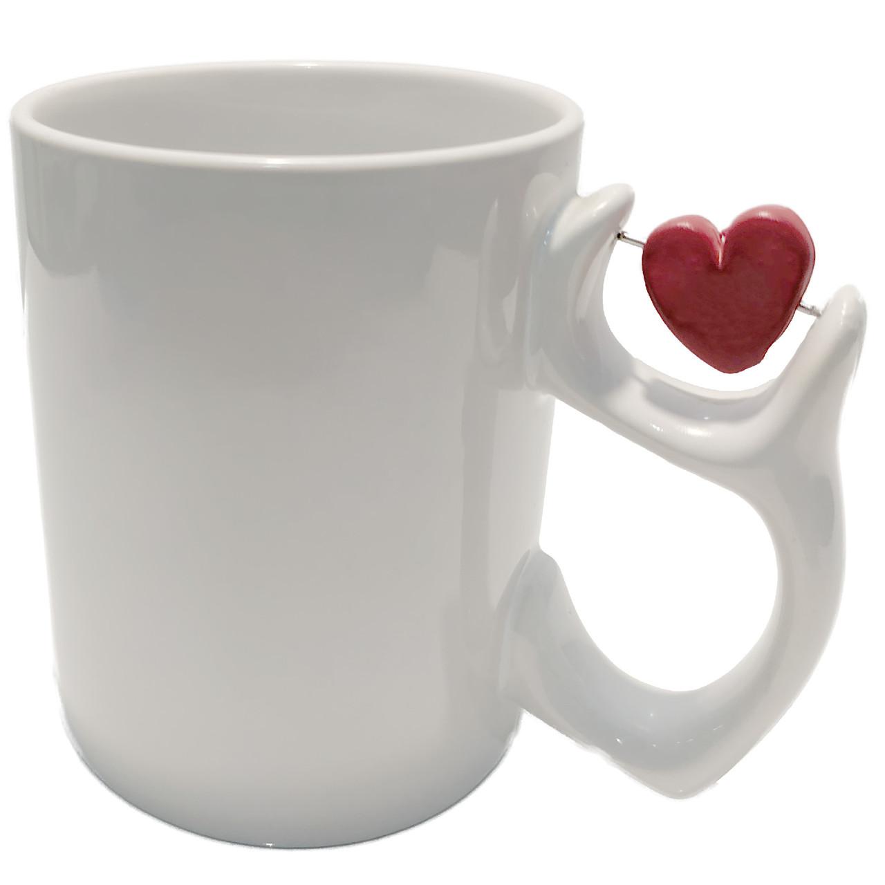 Чашка белая для сублимации с сердечком 330 мл