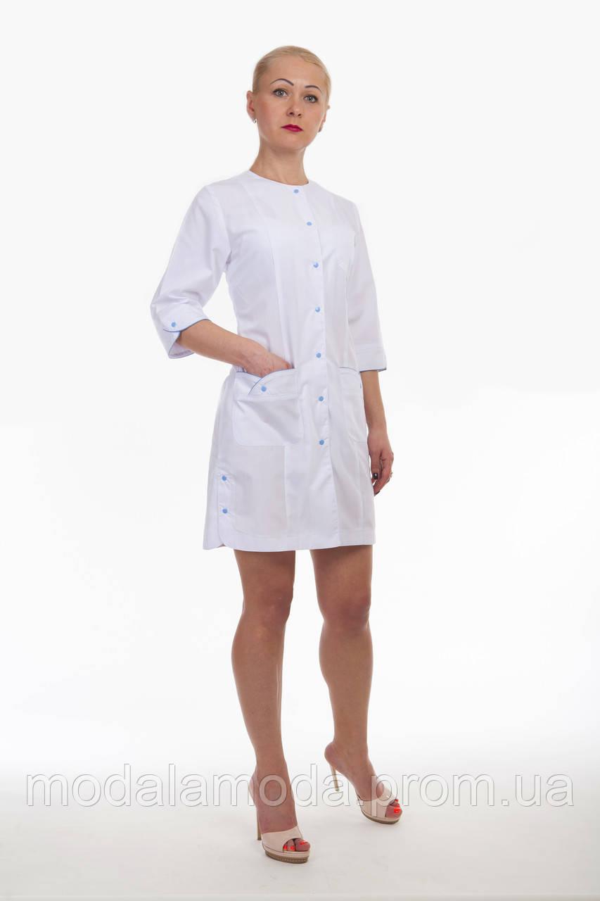 Халат медицинский женский короткий белый на кнопках
