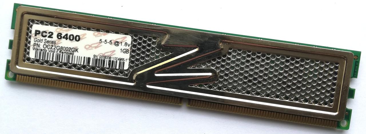 Игровая оперативная память OCZ Gold DDR2 1Gb 800MHz PC2 6400U 1R8/2R8 CL5 (OCZ2G8002GK)Б/У
