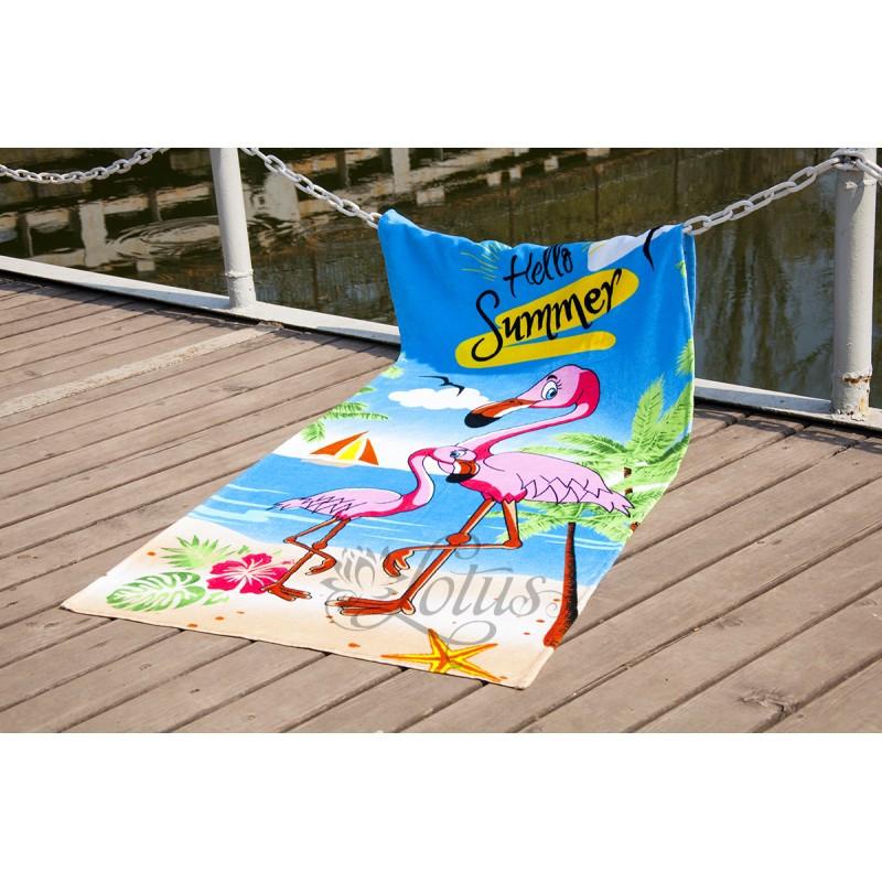 Пляжное полотенце 75х150 см хлопок велюр Фламинго