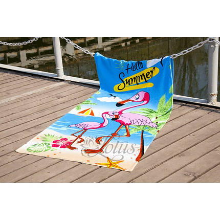 Пляжное полотенце 75х150 см хлопок велюр Фламинго, фото 2