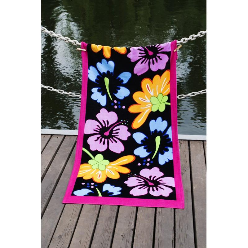 Пляжное полотенце 75х150 см хлопок велюр Цветы