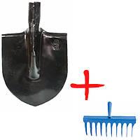 Лопата штыковая закаленная ЛКО + грабли витые 10 зубов
