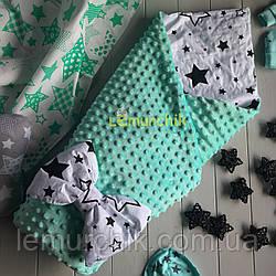 Конверт-одеяло минки на синтепоне бирюзовый