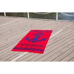 Пляжное полотенце 75х150 см хлопок велюр Якорь красный