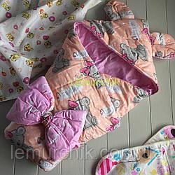 Конверт-одеяло с капюшоном и ушками, на синтепоне, Мишка персиковый