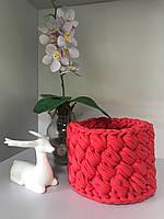 Корзина декоративная круглая для дома и интерьера, трикотажная пряжа