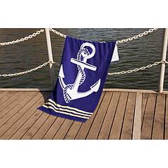 Пляжное полотенце 75х150 см хлопок велюр Якорь синий