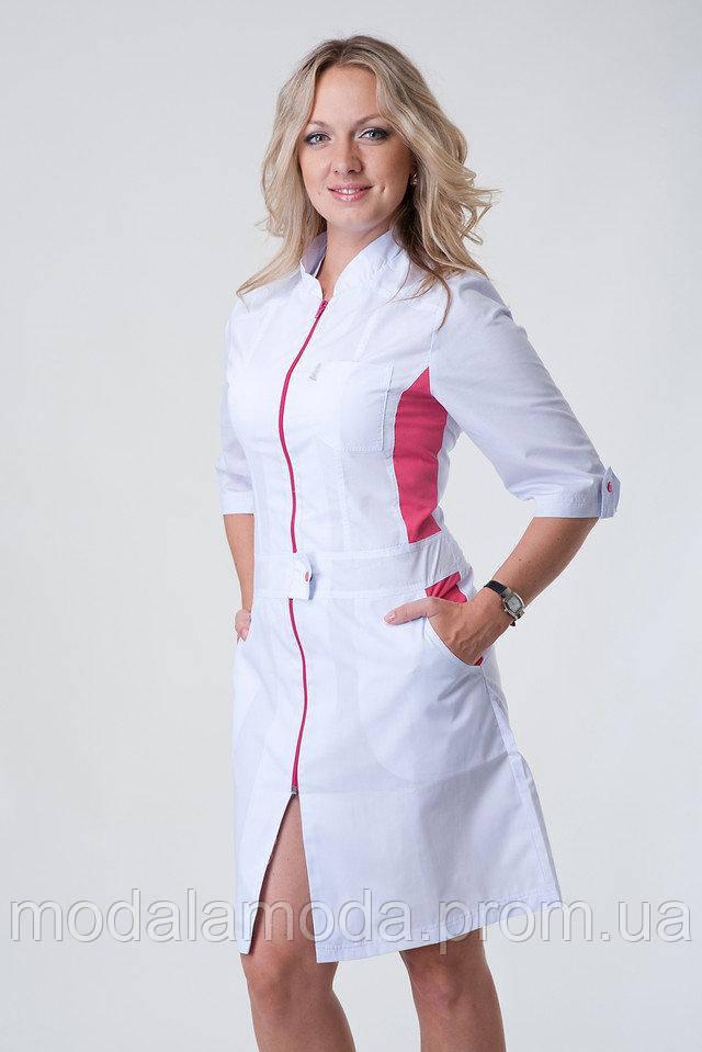 Халат медицинский женский с поясом на розовой молнии