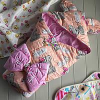 Конверт-одеяло с капюшоном и ушками, на синтепоне, Мишки персиковый