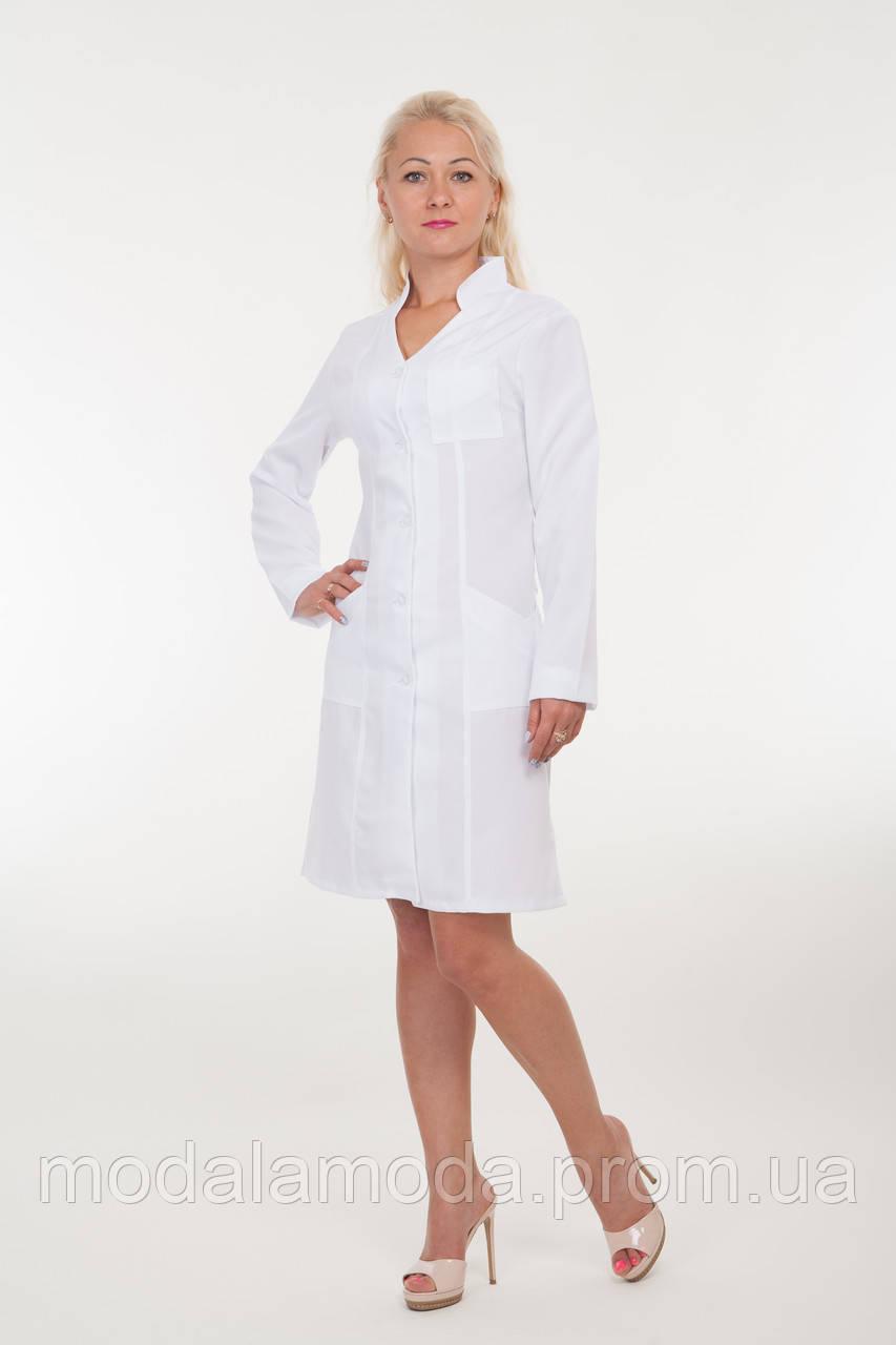 Халат медицинский женский белый однотонный классический