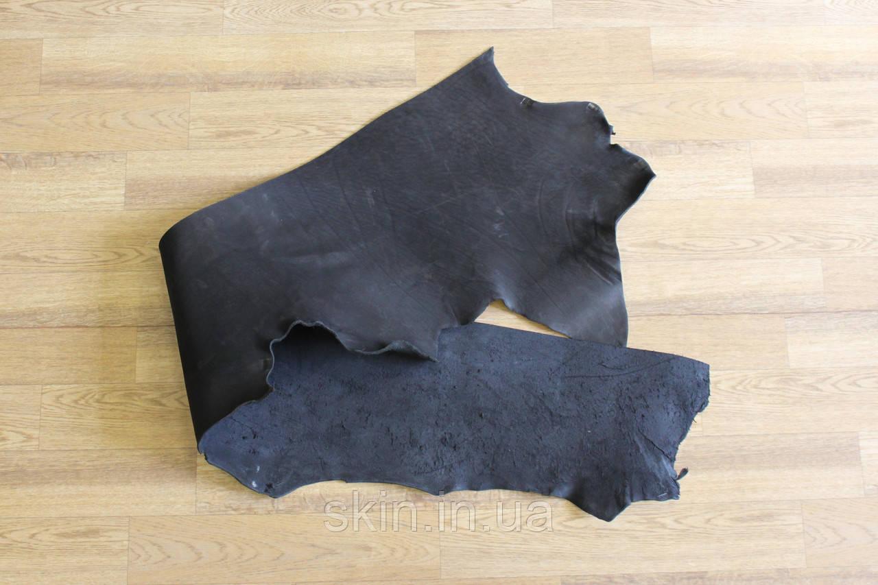 Кожа натуральная ременная, толщина - 3.0 мм, цвет - черный, артикул СК 1609 пола