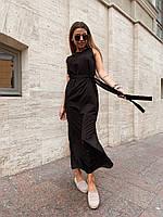 Длинное прямое платье из софта под пояс без рукава и с разрезом 22ty3197