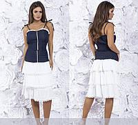 Костюм женский джинсовый юбка и топ в расцветках 226, фото 1