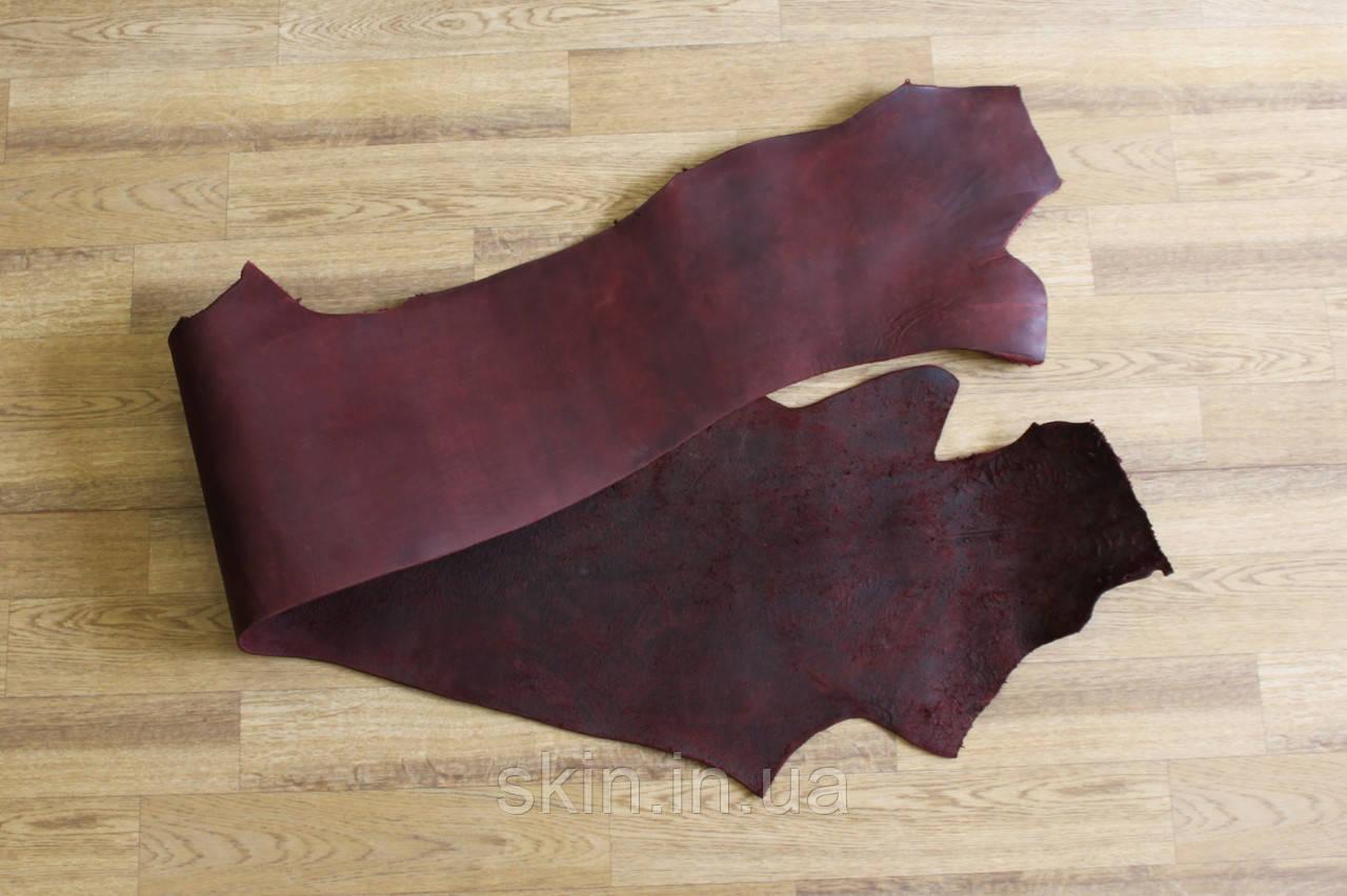 Кожа натуральная ременная в полах, толщина 3.2 мм, бордового цвета, арт. СК 1680-3