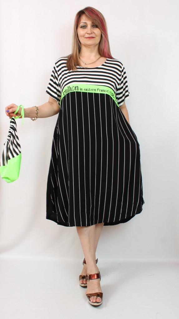 Турецкое летнее черное платье в полоску, 52-62