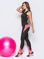 Комплект для фитнеса из леггинсов и майки черно-розового цвета