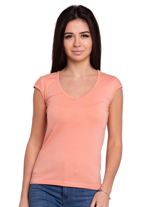 Персиковая футболка женская без рисунка однотонная стрейчевая летняя