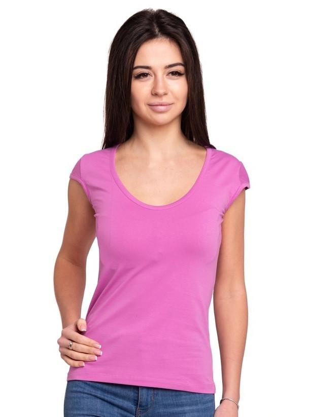 Сиреневая футболка женская без рисунка однотонная стрейчевая летняя