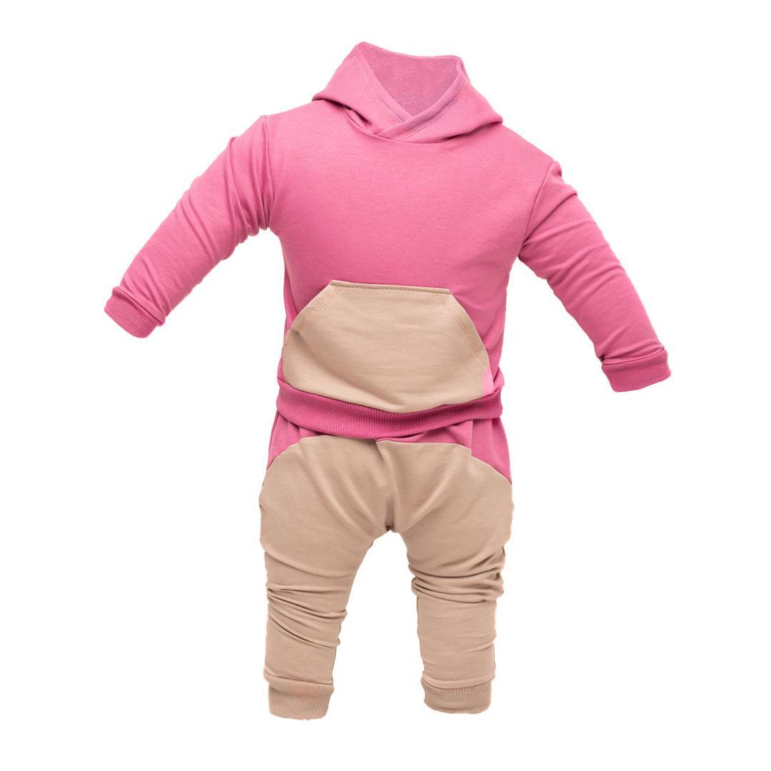 Костюм спортивный ясельный: худи и штаны под памперс, малиновый Двунитка | Костюм спортивний ясельний