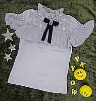 "Блуза на девочку ""Рита"", короткий рукав, р. 6-14 лет, серый, фото 1"