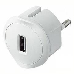 Адаптер з USB зарядкою білий