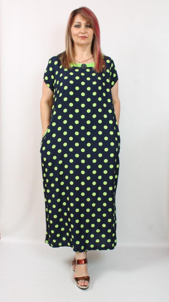 Турецкое черное платье в горох, 50-60