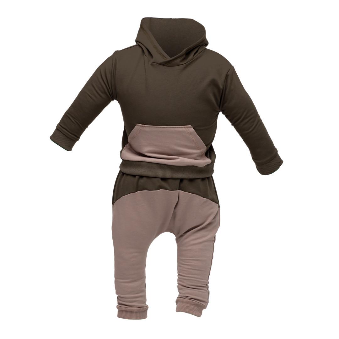Костюм спортивный ясельный: худи и штаны под памперс, хаки Двунитка   Костюм спортивний ясельний