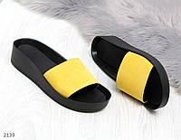Модные желтые женские шлепки из натуральной замши, фото 1