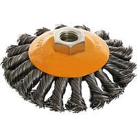 Щетка конусная Compass 125 мм M14 плетеная проволока