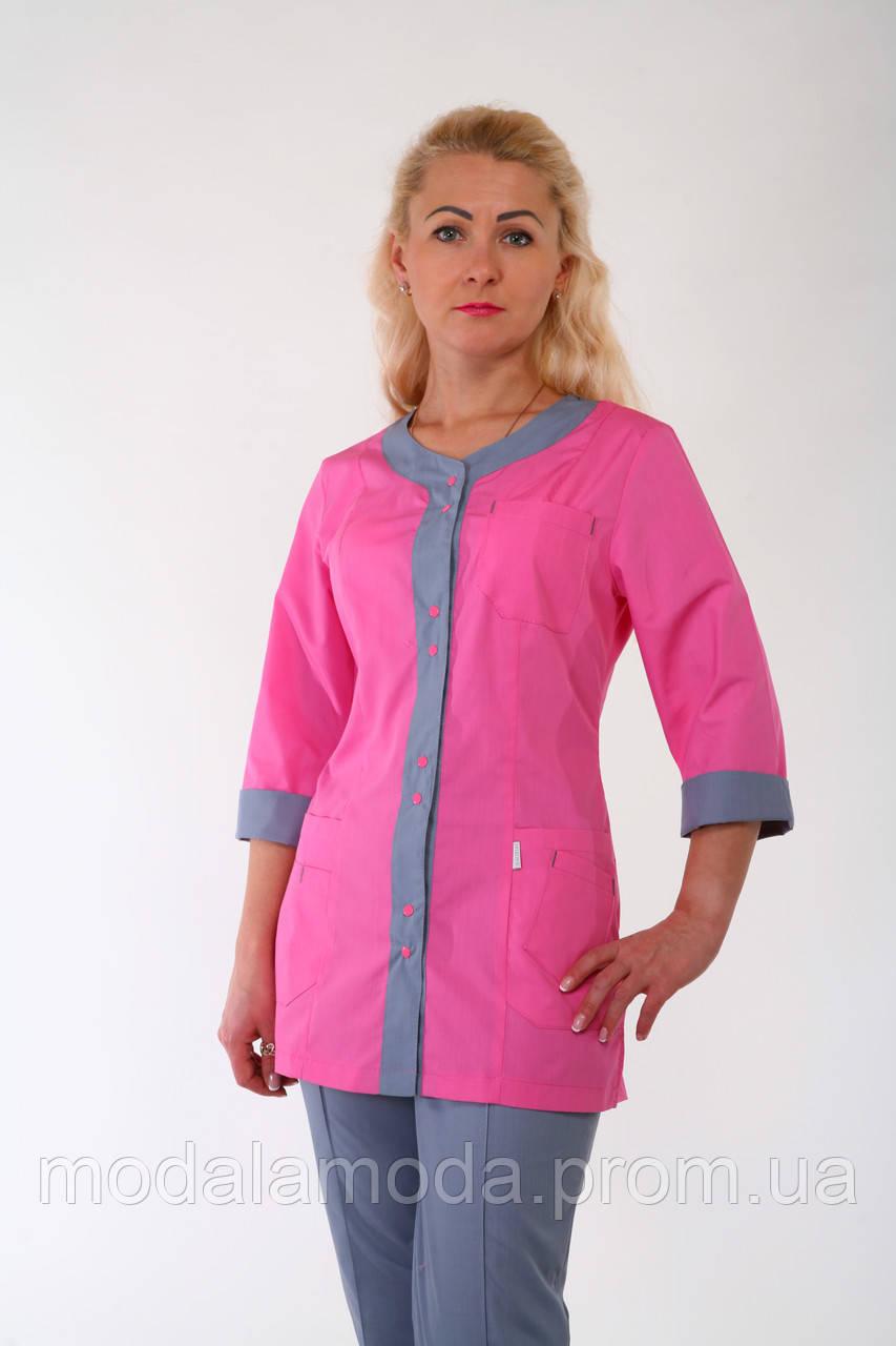 Костюм медицинский женский розово-серым дизайном