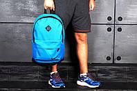 Рюкзак Nike городской стильный кожаное дно черное, цвет голубой, фото 1