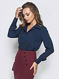 Однотонная блузка прямого кроя с отложными воротником и длинным рукавом, фото 2