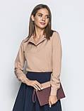 Однотонная блузка прямого кроя с отложными воротником и длинным рукавом, фото 5