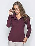 Однотонная блузка прямого кроя с отложными воротником и длинным рукавом, фото 7