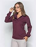 Однотонная блузка прямого кроя с отложными воротником и длинным рукавом, фото 8