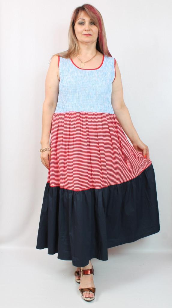 Турецкое летнее женское платье в полоску, 52-64