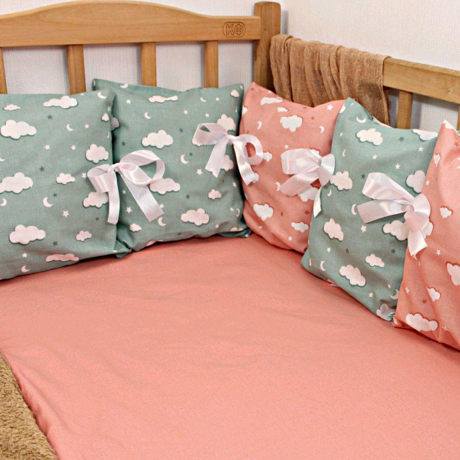 Защита в детскую кроватку со сьемными наволочками на 3 стороны   Захист в дитяче ліжечко