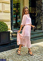Шифоновое Платье-рубашка с рукавом три четверти миди пудровое  BH-6965
