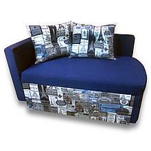 Диван дитячий Шпех Принт Сірий 70см (Основа синій) . Диванчик зі спальним місцем 2 метри