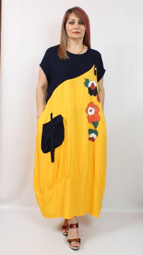 Турецкое летнее желтое длинное платье, 52-64