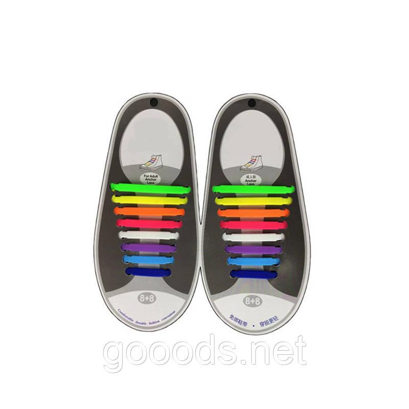Еластичні гумові шнурки для взуття 16 шт