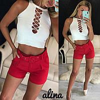Женские шорты с карманами и тканевым поясом 38mju275, фото 1