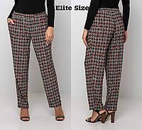Принтованные прямые женские брюки в больших размерах 6mbr2034