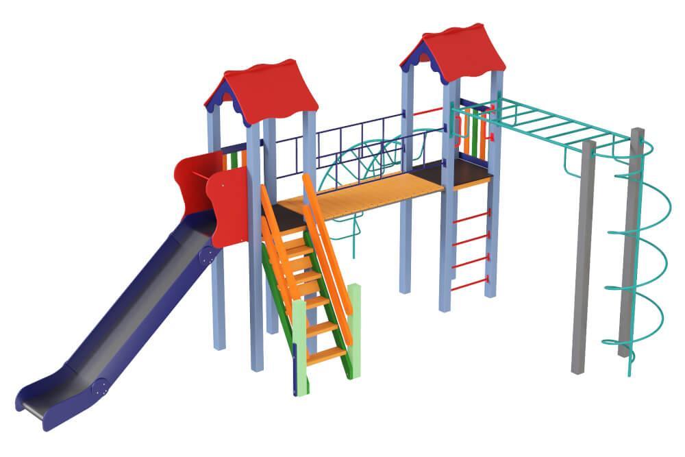 Детский комплекс Вагончик, высота горки 1,5 м. КД644
