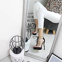 Женские босоножки на каблуке с силиконовым прозрачным верхом на шнуровке 74OB15