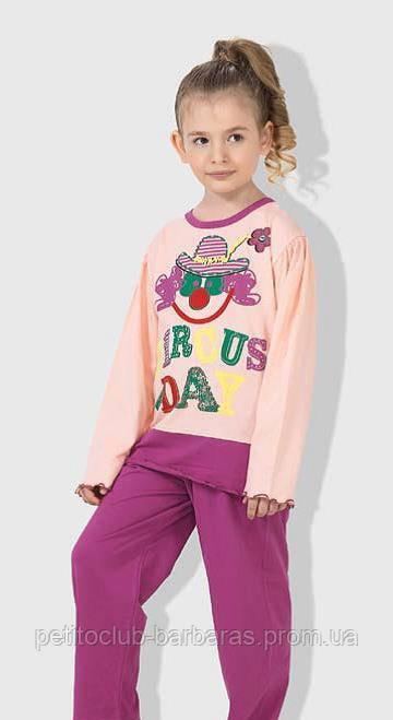 """Детская пижама для девочки """"Клоун""""  фиолетовая (OZTAS, Турция)"""
