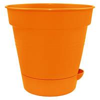 Горшок цветочный Алеана Глория 20 с поливом оранжевый