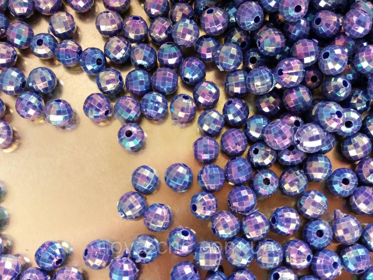 """Бусины """"мини диско"""" синий 6 мм 500 грамм"""